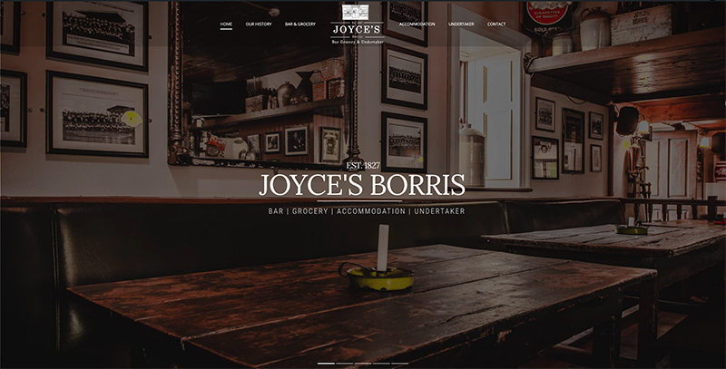 joyces bar website design